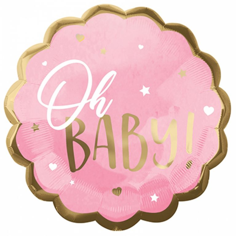 Folieballon oh baby roze 55cm