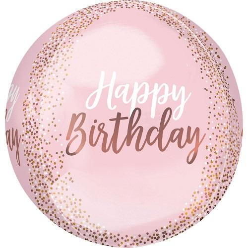 Folieballon Orbz Rose Gold Blush Birthday 38cm