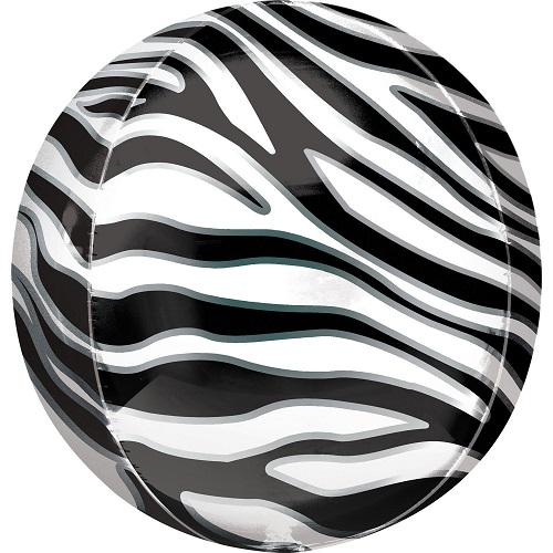Folieballon orbz zebra print