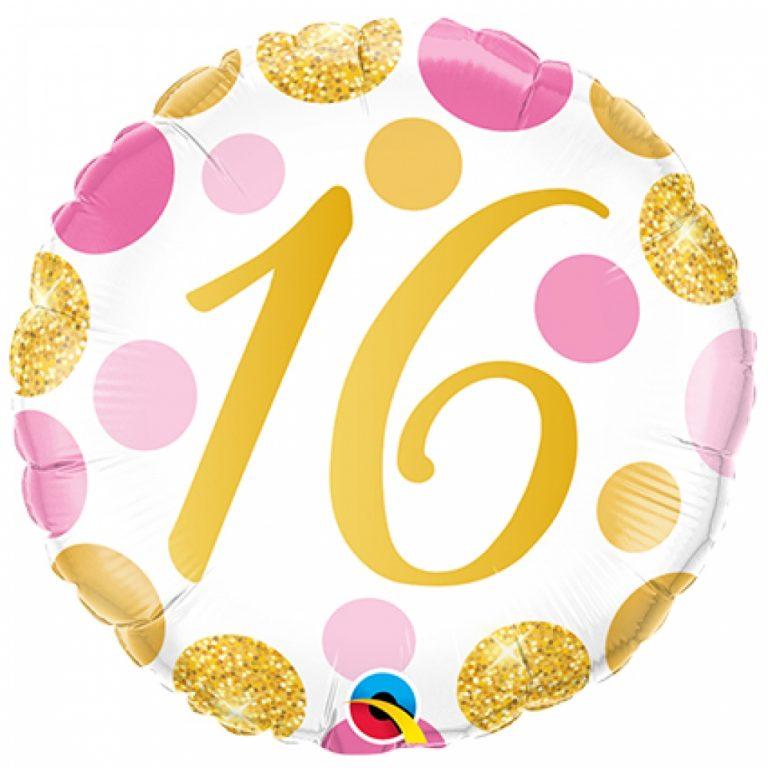 Folieballon pink en gold dots 16 jaar