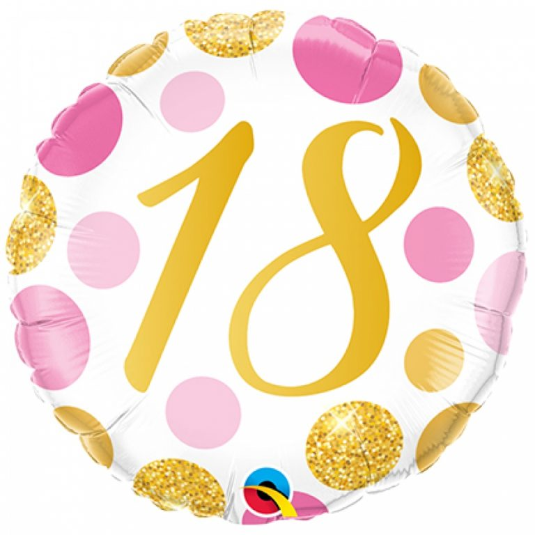 Folieballon pink en gold dots 18 jaar 46cm