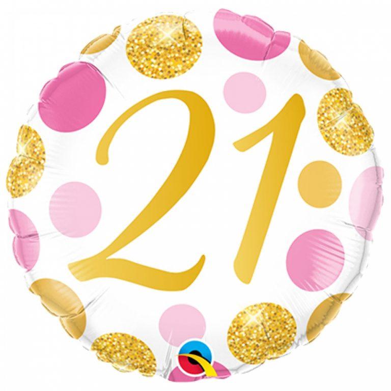 Folieballon pink en gold dots 21 jaar