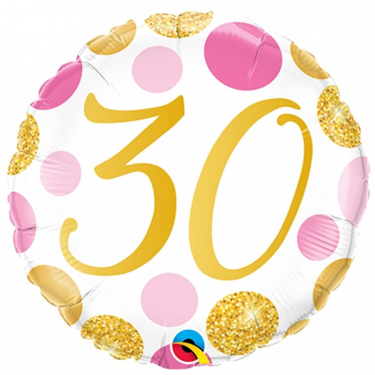 Folieballon pink en gold dots 30 jaar 46cm