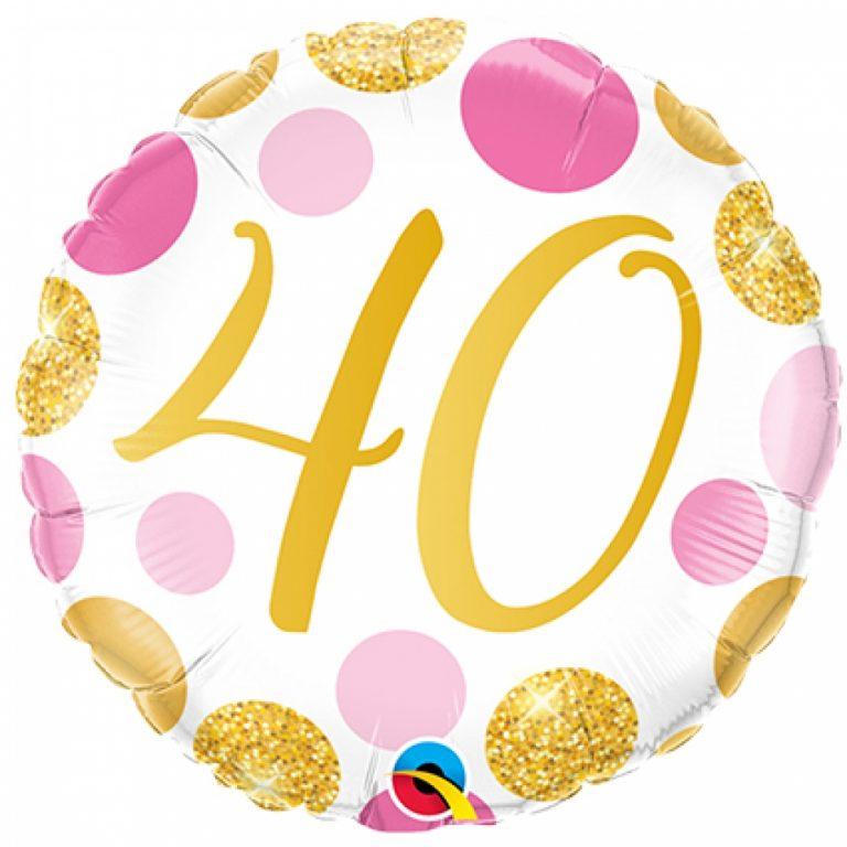 Folieballon pink en gold dots 40 jaar