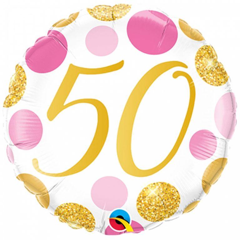 Folieballon pink en gold dots 50 jaar 46cm