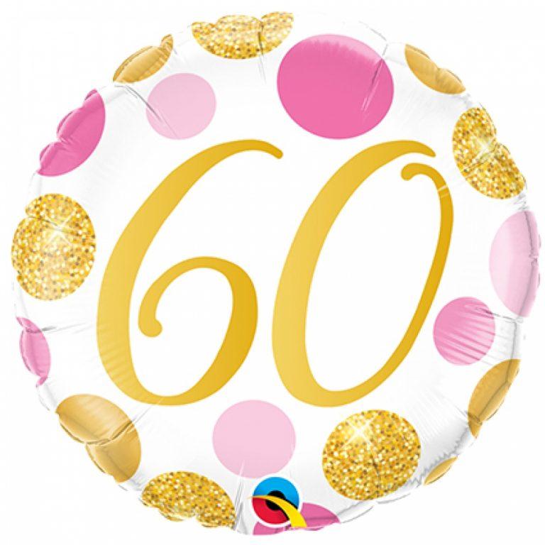 Folieballon pink en gold dots 60 jaar 46cm