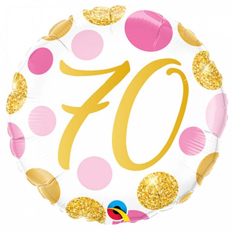 Folieballon pink en gold dots 70 jaar 46cm