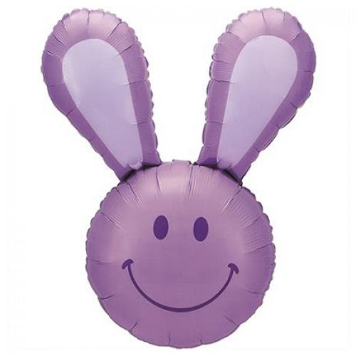 Folieballon Smiley bunny paars 94cm