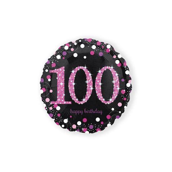 Folieballon sparkling 100 jaar pink 46 cm