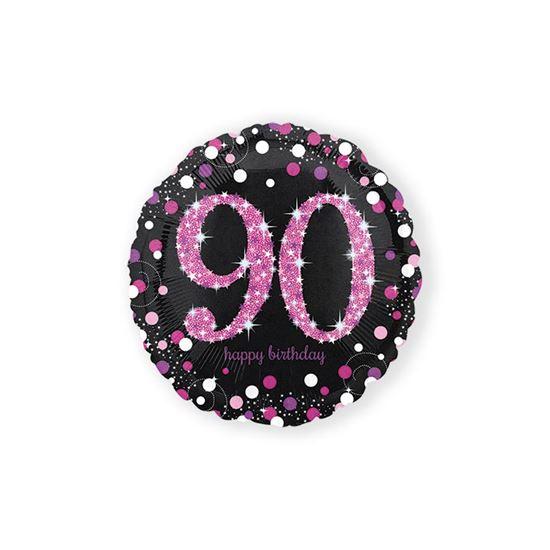 Folieballon sparkling 90 jaar pink 46cm