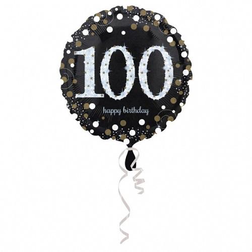 Folieballon sparkling gold 100 jaar