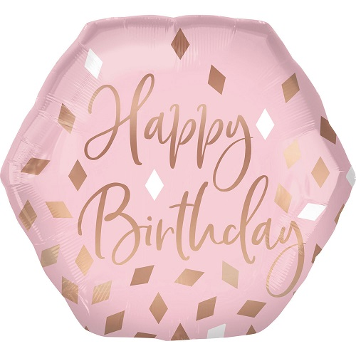 Folieballon supershape blush birthday 58cm