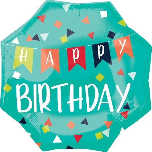 Folieballon supershape happy birthday groen