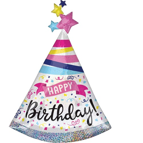 Folieballon Supershape Happy birthday sparkle 91cm