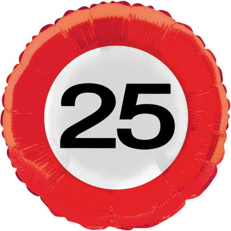 Folieballon verkeersbord 25