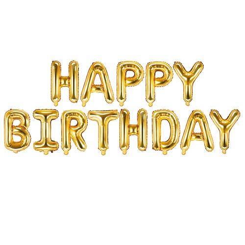 Folieballonnen set Happy birthday goud
