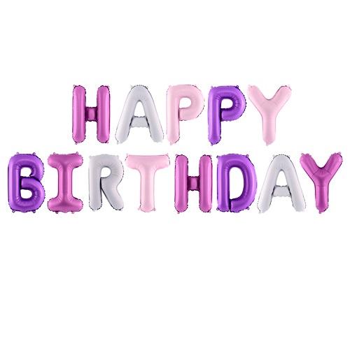 Folieballonnen set Happy birthday mix