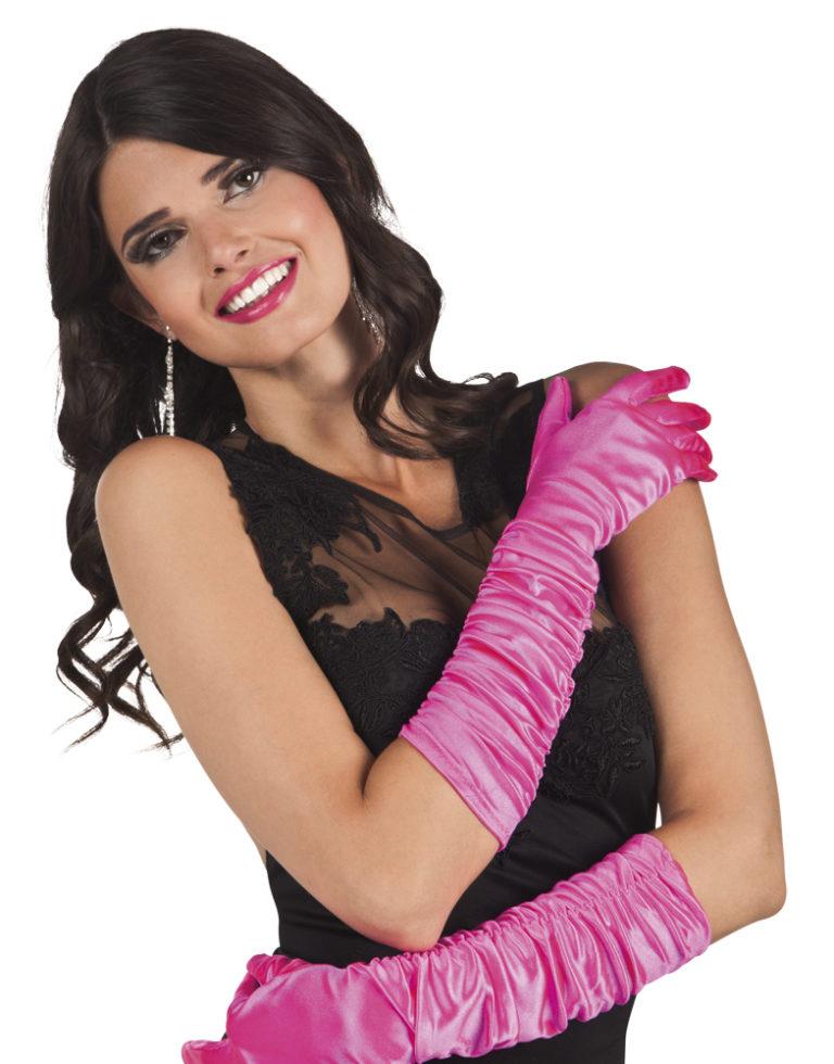 Gala handschoenen roze elleboog