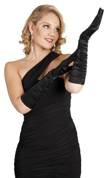 Gala handschoenen zwart elleboog