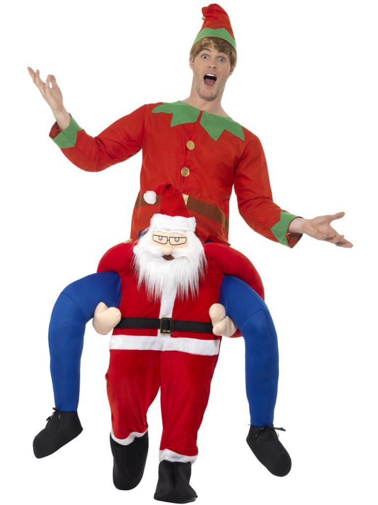 Gedragen door de kerstman kostuum