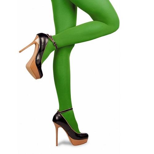 Gekleurde Piet panty groen L/XL