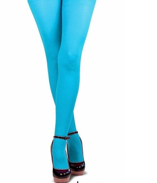 Gekleurde piet panty turquoise L-XL