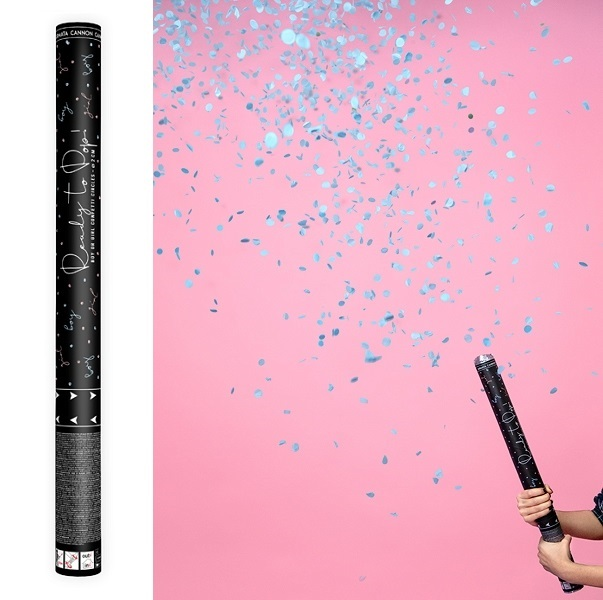 Gender reveal confetti shooter blauw