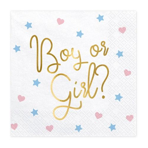 Gender reveal servetten boy or girl goud 20st
