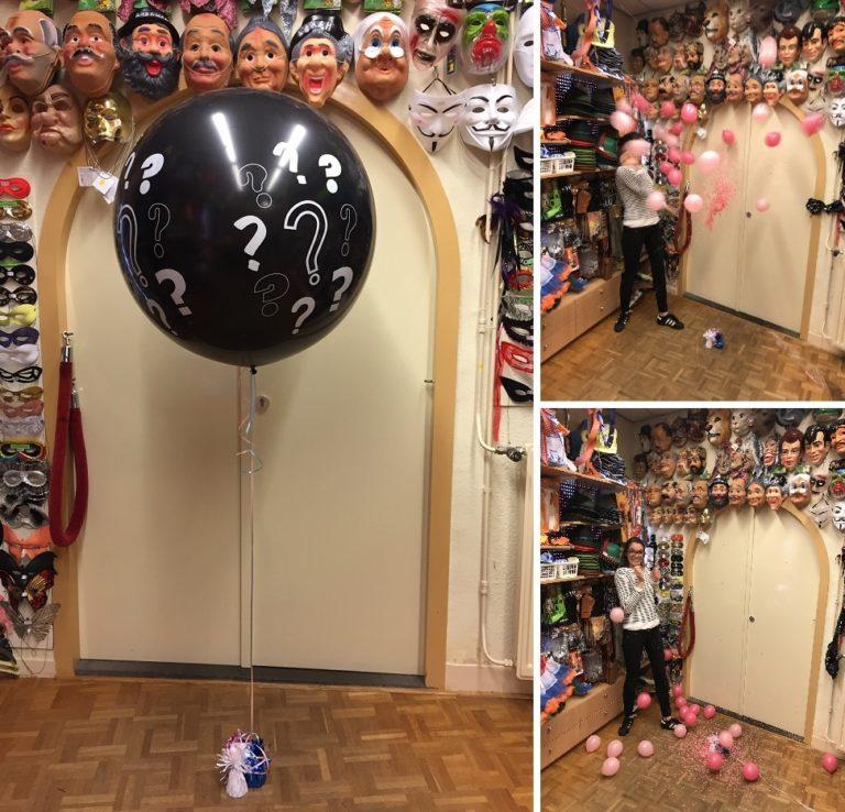 Gender reveal vraagteken ballon met helium