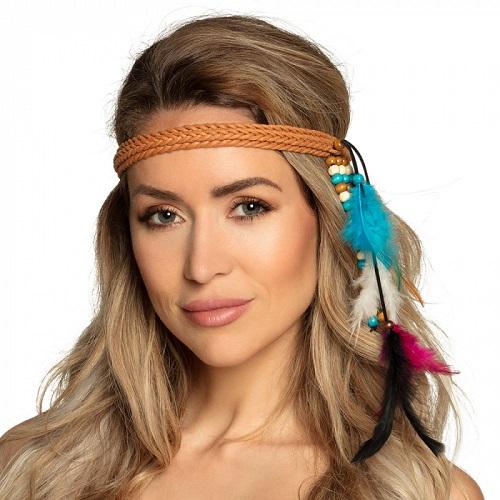 Gevlochten hoofdbandje met veren