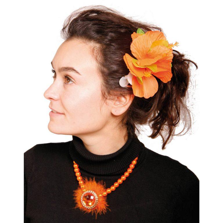 Haarclip bloem oranje