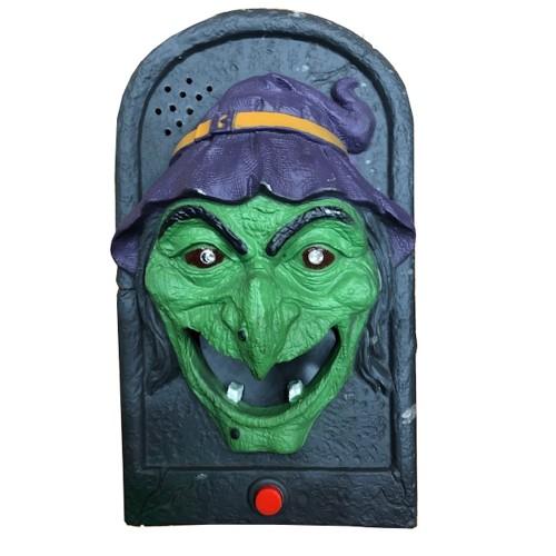 Halloween deurbel heks met licht, geluid en beweging