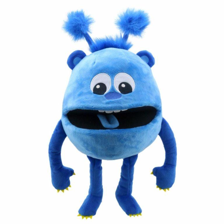 Handpop 20cm baby monster blauw