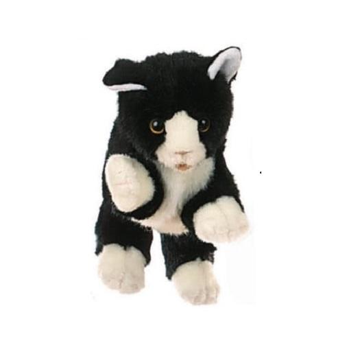 Handpop 28cm poes zwart-wit
