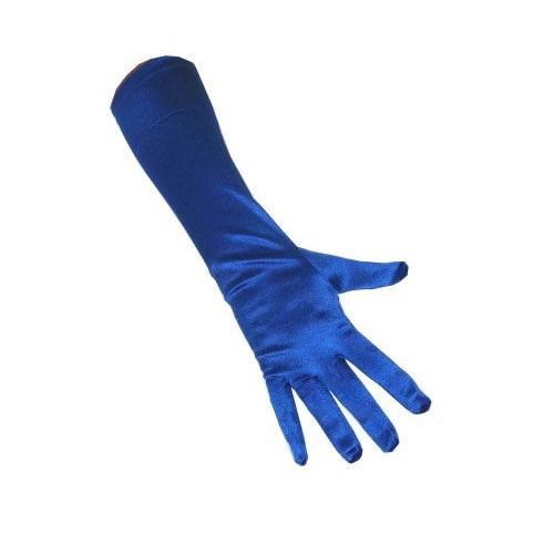 Handschoenen blauw satijn 35cm