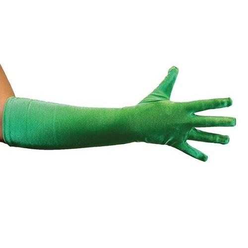 Handschoenen groen satijn 40cm