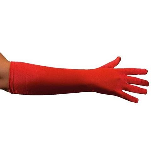 Handschoenen rood satijn 40cm