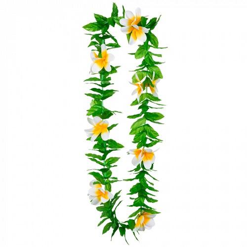 Hawaii krans Lulani met witte bloemen