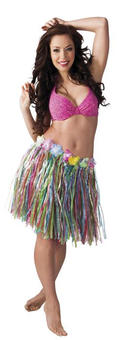 Hawaii rok kort veelkleurig 45cm