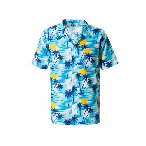 Hawaiiblouse blauw XXL/XXXL