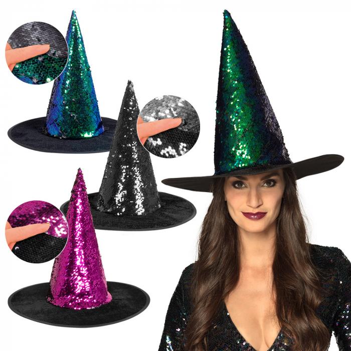 Heksenhoed Witch Switch met pailletten 3 kleuren