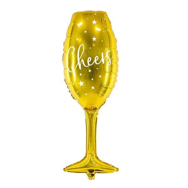 Helium ballon champagne glas cheers goud