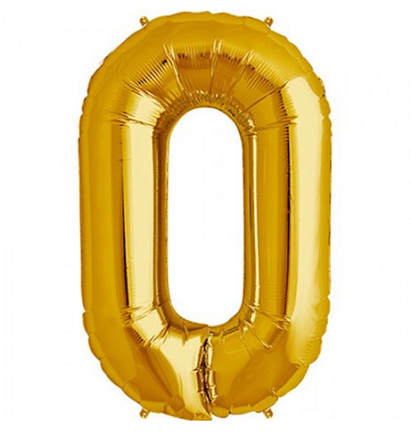 Helium ballon cijfer 0 goud 100cm