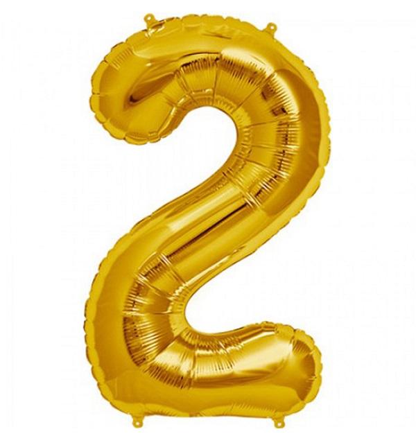 Helium ballon cijfer 2 goud 100cm