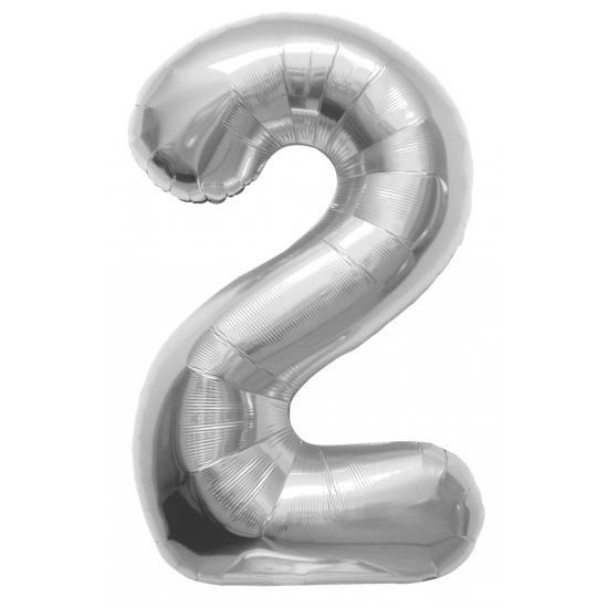 Helium ballon cijfer 2 zilver 100 cm