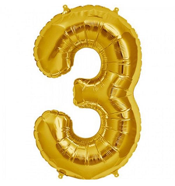 Helium ballon cijfer 3 goud 100cm