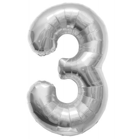 Helium ballon cijfer 3 zilver 100 cm