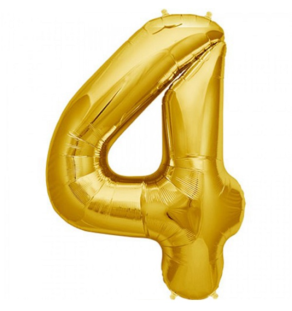 Helium ballon cijfer 4 goud 100cm