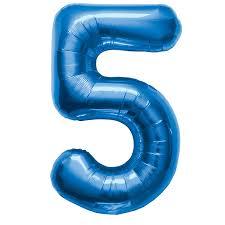 helium ballon cijfer 5 blauw 86cm