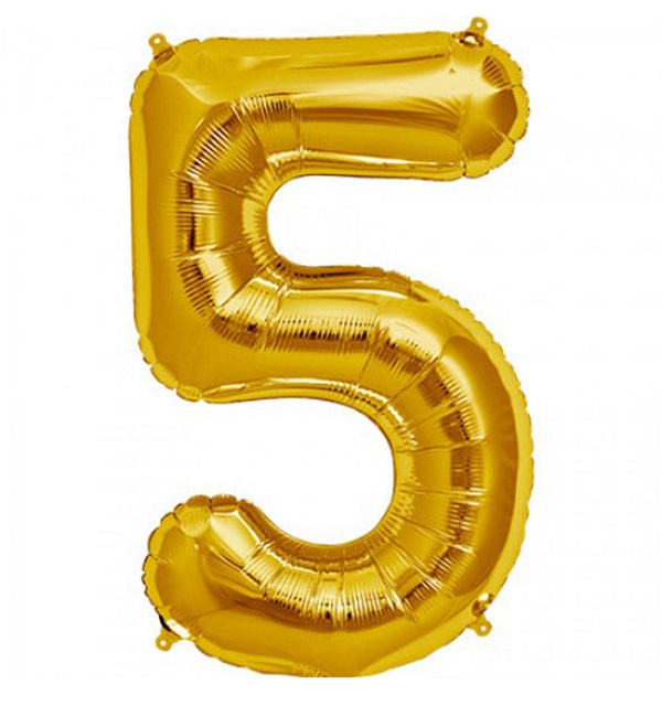 Helium ballon cijfer 5 goud 100cm
